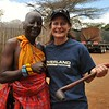Tiffany poses with Masai warrior at the Elephant Orphanage at Sheldrick Wildlife Foundation.
