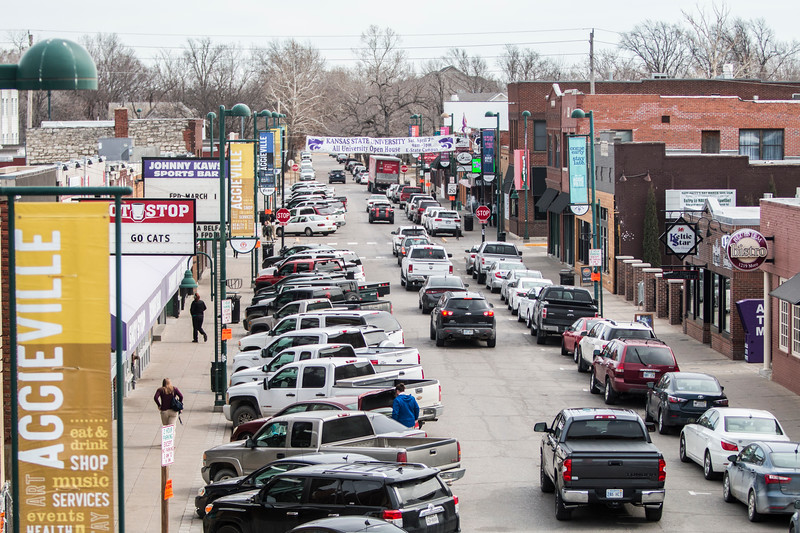 The Aggieville bar district in Manhattan, Kan. prepares for its busiest day of the year: Fake Patty's Day. (Logan Wasasall | Collegian Media Group)