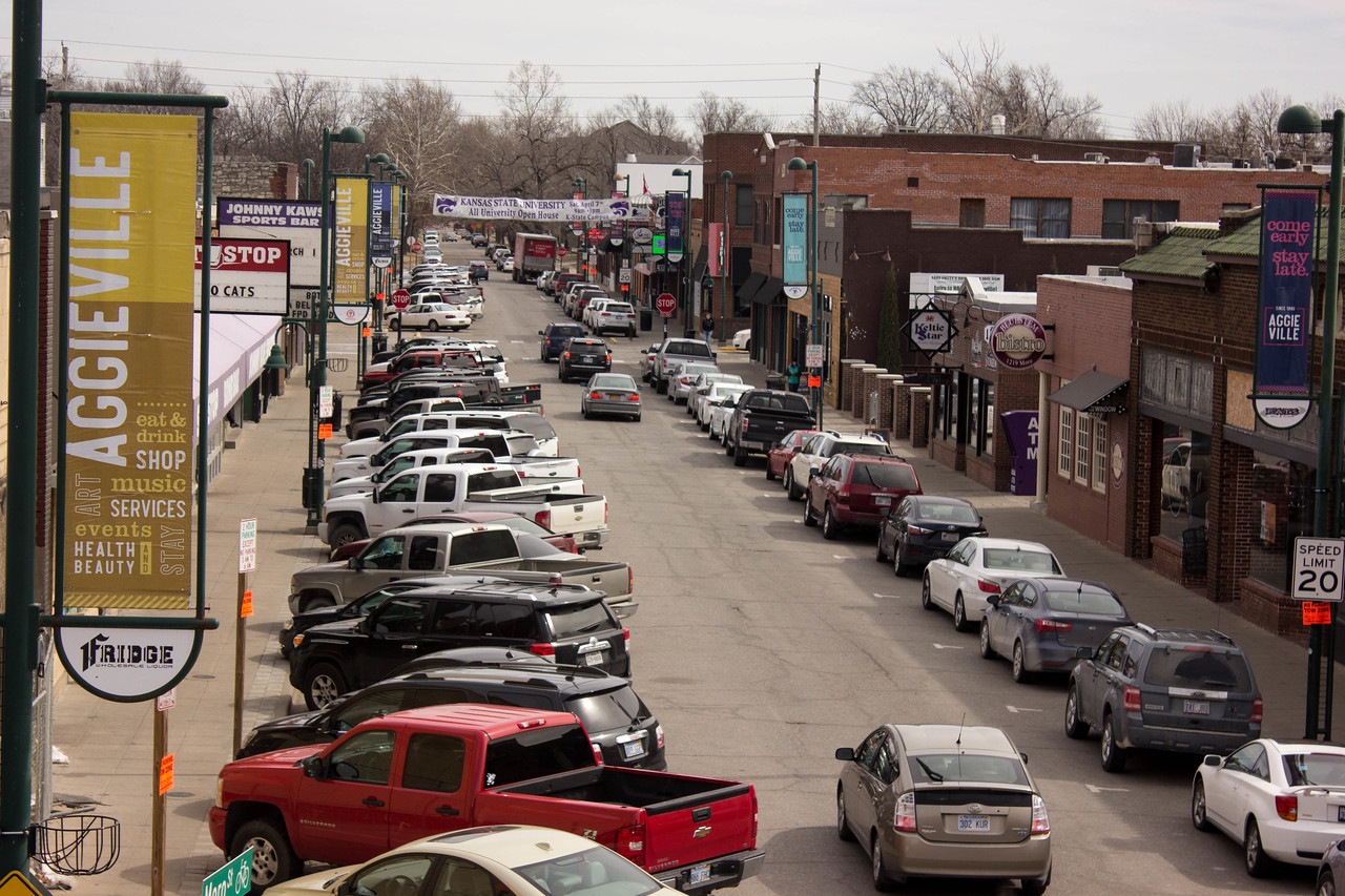 Aggieville before Fake Patty's Day 2018