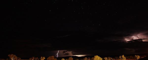 Lightning and stars.