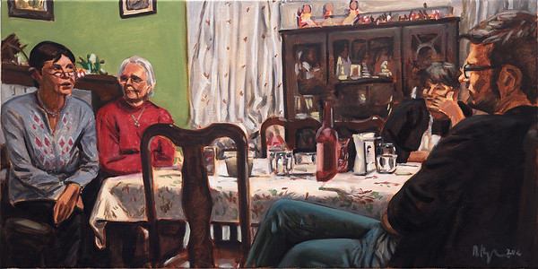 Dinner table 1; oil on canvas, 18 x 36 in, 2016