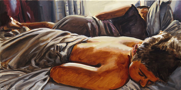 Sleeping men, oil on canvas, 18 x 36 in, 2017
