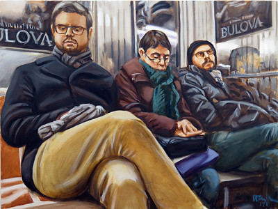 Travelers; oil on canvas, 30 x 40 in, 2017