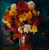 Flowers in a Vase III-Georgie, 18x18 painting on paper JPG