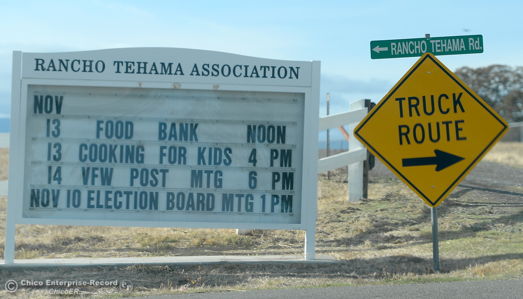 . Signs welcome visitors to the community along Rancho Tehama Road Tuesday. Five people are dead including the shooter following several shootings in the Northern California community Tues. Nov. 14, 2017.  (Bill Husa -- Enterprise-Record)