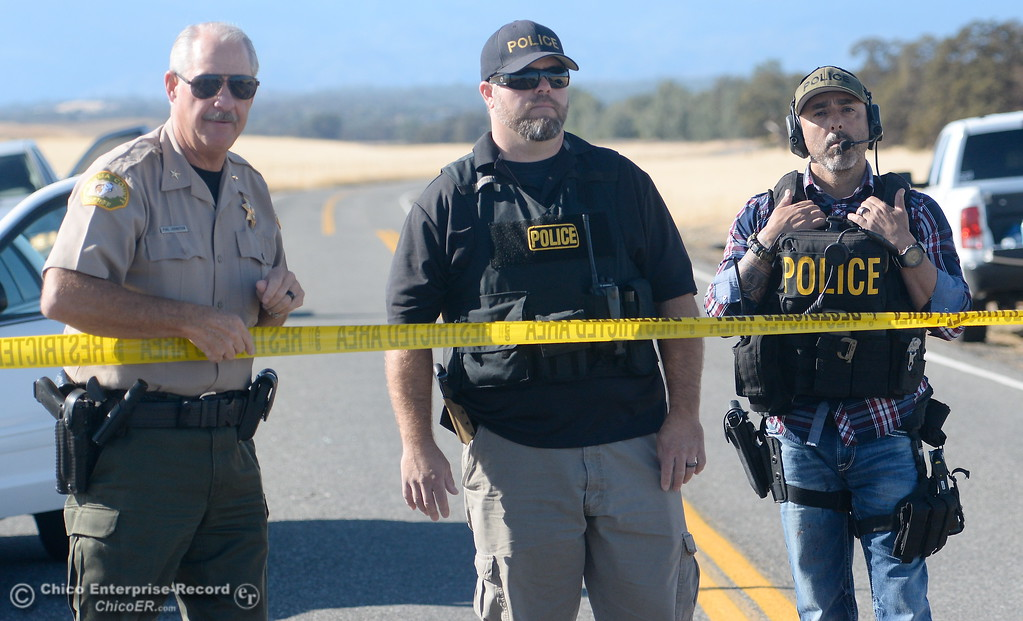 . Rancho Tehama Road where law enforcement has the road blocked following several shootings in the Rancho Tehama community Tues. Nov. 14, 2017.  (Bill Husa -- Enterprise-Record)