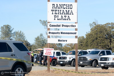 Emergency services personel gather at the Rancho Tehama Plaza following several shootings in the community Tues. Nov. 14, 2017.  (Bill Husa -- Enterprise-Record)