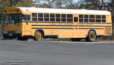 A Corning Union School District Bus is seen in the Rancho Tehama community following several shootings in the area Tues. Nov. 14, 2017.  (Bill Husa -- Enterprise-Record)