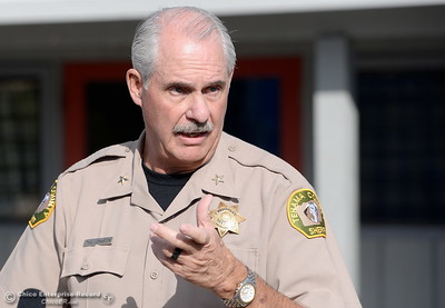 Rancho Tehama Assistant Sheriff Phil Johston speaks during a press conference following several shootings in the Northern California community Tues. Nov. 14, 2017. Five people are confirmed dead and 10 injured.  (Bill Husa -- Enterprise-Record)