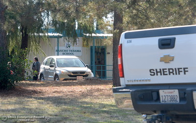 A Sheriff's vehicle is seen at Rancho Tehama Elementary School following several shootings in the Northern California community Tues. Nov. 14, 2017.  (Bill Husa -- Enterprise-Record)