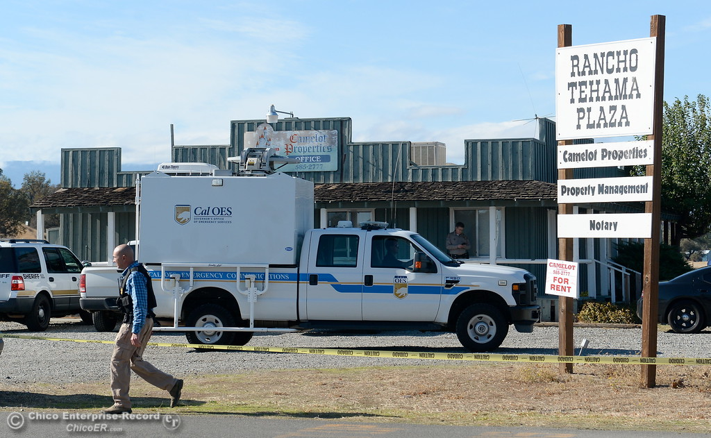 . Emergency services personel gather at the Rancho Tehama Plaza following several shootings in the community Tues. Nov. 14, 2017.  (Bill Husa -- Enterprise-Record)