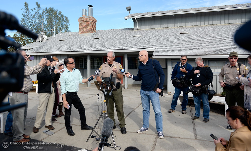 . Rancho Tehama Assistant Sheriff Phil Johston left and Sheriff Dave Hencratt at right speak during a press conference following several shootings in the Northern California community Tues. Nov. 14, 2017. Five people are confirmed dead and 10 injured.  (Bill Husa -- Enterprise-Record)