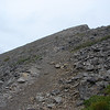 The final scree slope to the summit