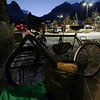 <b>12 Dec 2009</b> Outside the supermarket, packing groceries into panniers to cycle home again