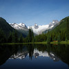 <b>31 July 2010</b> Bugaboos reflection in the pond by the lodge (photo stolen from Alex)