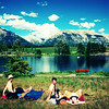<b>17 July 2010</b> James, Alex and Megan at Quarry Lake, Canmore