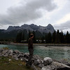 <b>3 Oct 2010</b> Brendan poses with the Bow River and Mount Lawrence Grassi