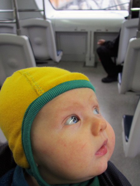<b>9 Nov 2010</b> First time on public transport at 2.5 months - the Skytrain in Vancouver, on the way to get his Australian passport