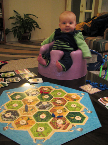 <b>7 Nov 2010</b> Finn playing Settlers of Catan with Megan, Alex and Brendan