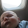 <b>9 Nov 2010</b> Second aeroplane flight ever at 2.5 months, from Vancouver back to Calgary.  He fed for the first 20 minutes, then slept the rest of the way.