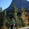 <b>1 Oct 2010</b> Megan with Finn in the Chariot, heading down from Grassi Lakes (Ha Ling in the background)