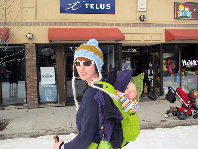 <b>13 Mar 2011</b>   Megan and Finn, skiing down Main Street