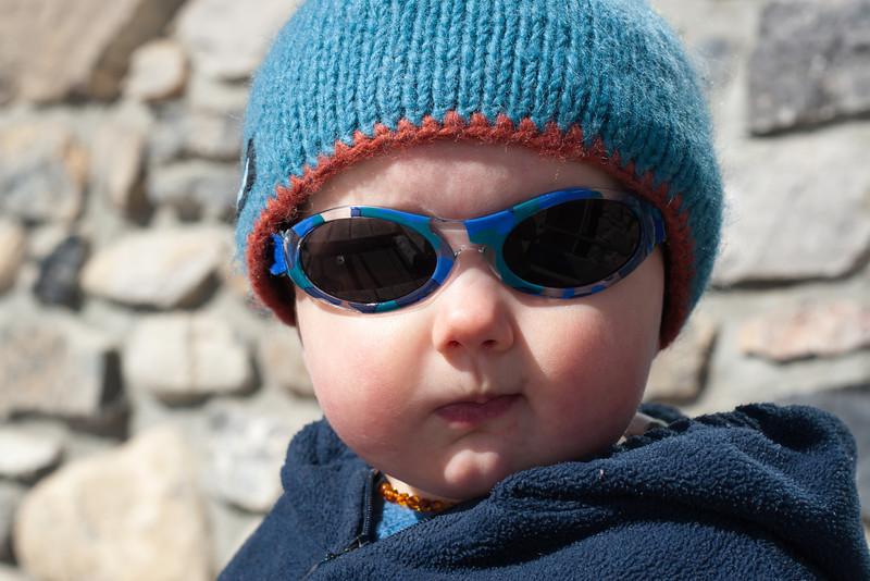 <b>8 April 2011</b> Finn enjoying the sun at Sunshine Village