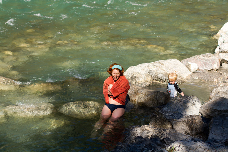 <b>16 June 2013</b> Lussier Hot Springs - Megan soaking in the freezing cold river