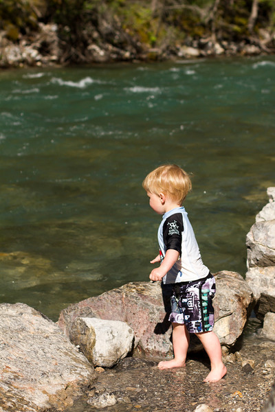 <b>16 June 2013</b> Lussier Hot Springs - Finn throwing rocks