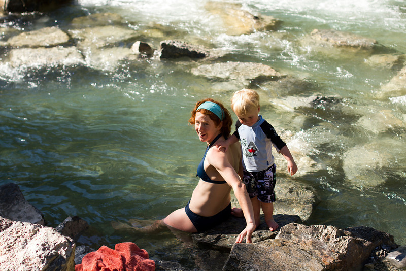 <b>16 June 2013</b> Lussier Hot Springs - Megan back in the cold water again, while Finn dices with danger