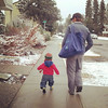 <b>April 2012</b> Finn and Papa, walking over to have dinner with Joel and Kristy