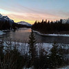 Sunlight fading from the sky, Bow River and Cascade Mountain