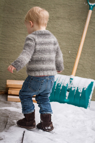 <b>21 March 2013</b> Playing in the snow in his new jumper (knitted by Mama)