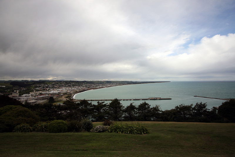 Oamaru from the town lookout, on a grey and miserable day
