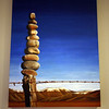 Adele's awesome rock stack painting (at the Timaru house)