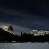 Ha Ling Peak and East End of Rundle, from Quarry Lake at night.