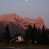 Walking round Canmore at dawn.  Mount Lawrence Grassi - Ha Ling Peak is the peak on the right.