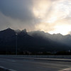 Stormy views over Mt Rundle from Canmore