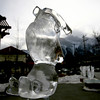 Ice sculptures in Canmore - Upside down bunny