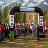 At the start line of the Grizzly 50k at the Canmore Nordic Centre