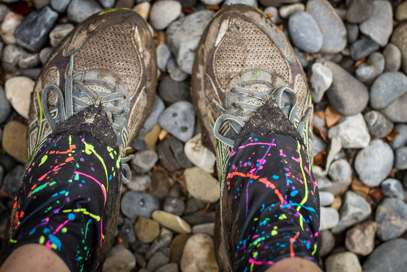 Muddy shoes and gaiters