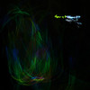 Playing with connectible glow sticks - skipping