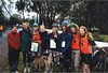 Paul & ? (FitUnFit), Katya & Heidi (ACE Elves), Rich H & Stumpy (Team Woody), Jackie & Megan (Gecko Girls) at the startline