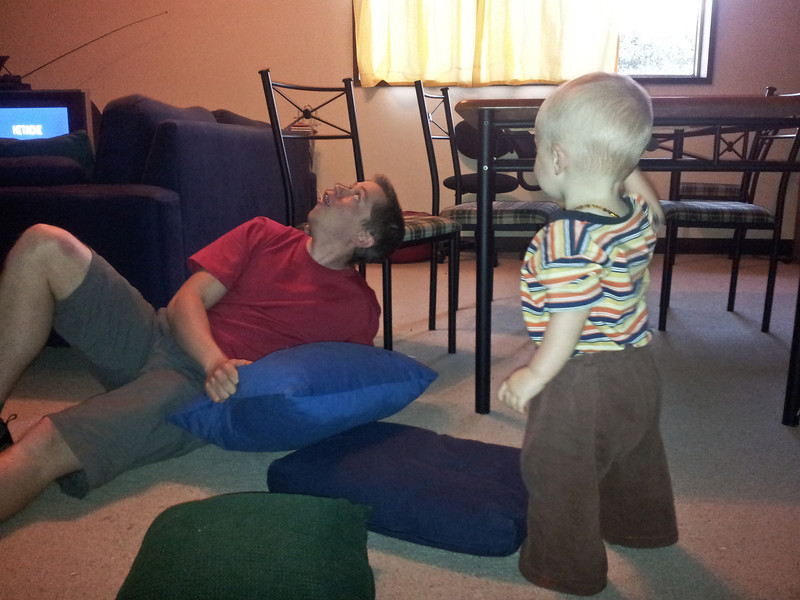 Visiting Pete and playing pillow games