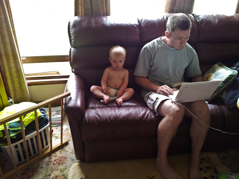 With Uncle Bryden and his laptop