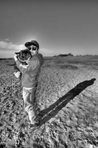 Cooper and dog walker at Fort Funston, San Francisco