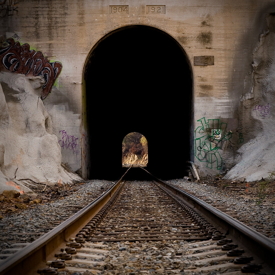 Day #6 - Metro-Link Tunnel<br /> <br /> This is a Metro-Link commuter train tunnel at the base of a rocky mountain in Chatsworth California.  It's a hang out for a lot of teens and also a place to rock climb.  It's also the location of the terrible train wreck that occurred in September of 2008.