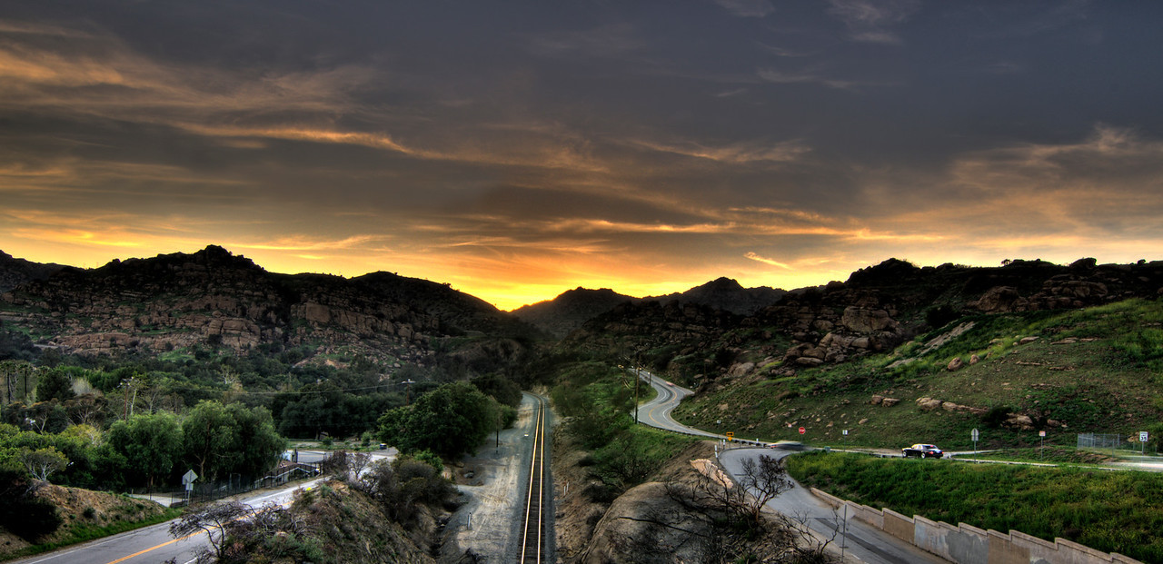Day #40 - Tracks<br /> <br /> I took this last night from the side of Topanga Canyon Road.  This is an HDR made from three separate exposures taken at -2EV, 0EV, and +2EV.  Came out better than I thought it would when I was photographing the scene.