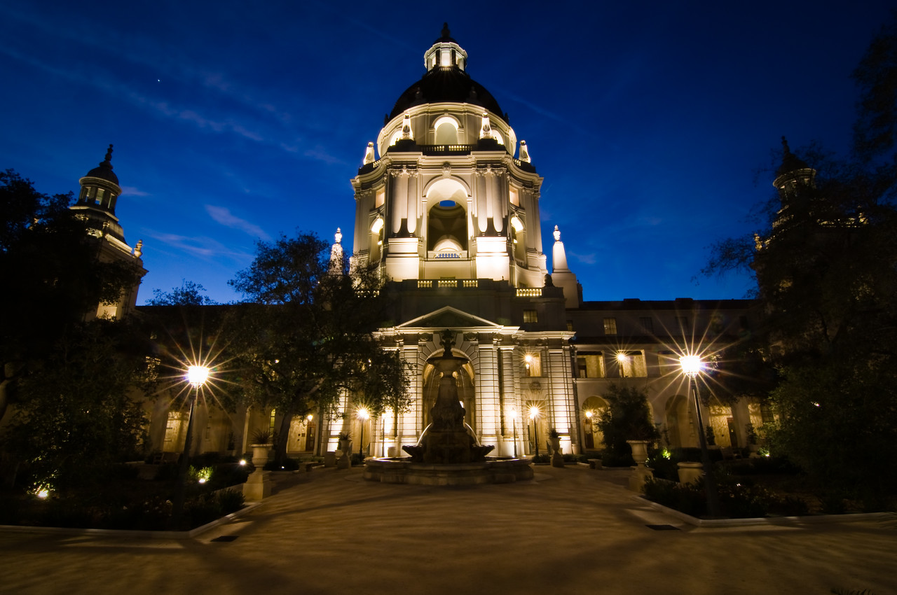 Day #31 - Gotham City<br /> <br /> Actually, Pasadena City Hall.  I took this shot about 45 minutes after sunset.  I could not believe how blue the sky was.  It served as a perfect back drop for this beautiful building.  This is actually taken from the inside courtyard.  The front is also pretty but this perspective is my favorite.  <br /> <br /> I exposed for the sky on this shot to capture the bright blue.  It was a 20 sec exposure at f/16.  I shot it at 11mm focal length using my Tokina 11-16mm lens and my Nikon D300.  This is pretty much straight out of camera, all I did was crop the image a little bit.  <br /> <br /> BTW, I think that is Venus in the top left corner of the image.