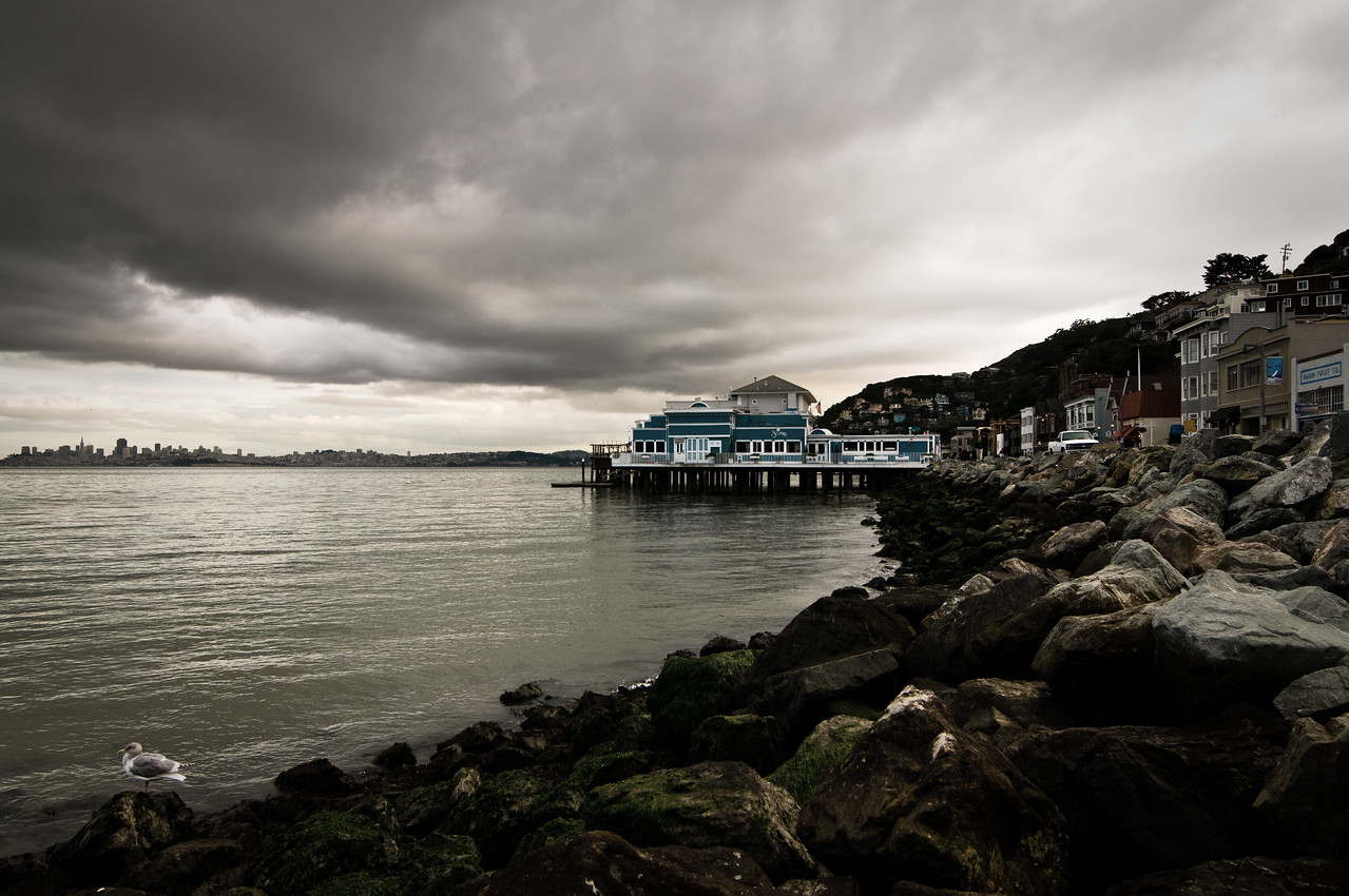 Day #23 - Stormy Bay in Sausilito<br /> <br /> This is during a stormy day in Sausilito CA; a nice little city on the other side of the Golden Gate Bridge.  <br /> <br /> I desaturated the colors a bit to add to the mood of the image.  I almost went black & white but I think the hint of colors really hit the mark. What do you think?